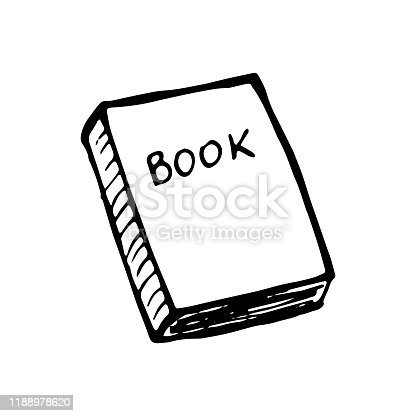 istock Single hand drawn book. Doodle vector illustration in cute scandinavian style. Element for greeting cards, posters, stickers and seasonal design. Isolated on white background 1188978620