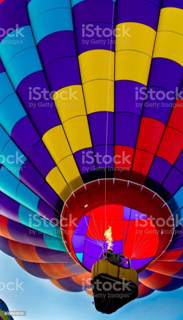 Single Hot Air Balloon lifting off stock photo