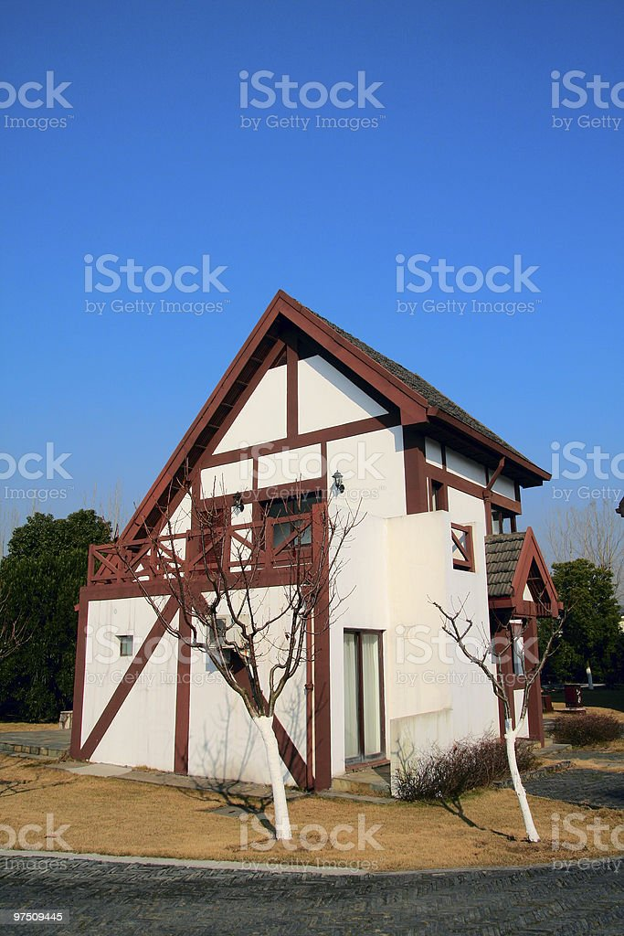 single house with blue sky royalty-free stock photo