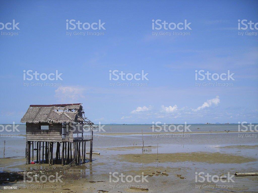 Single hut by beach royalty-free stock photo