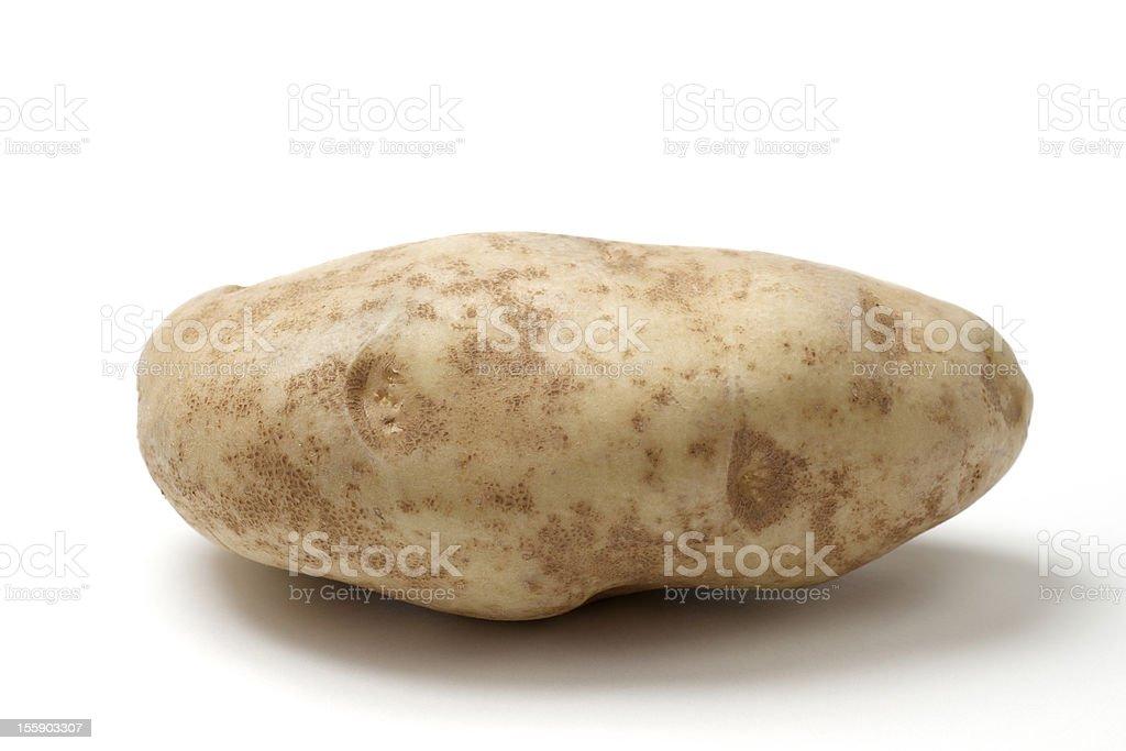 Single Idaho Russet Baking Potato against White Background, Shad royalty-free stock photo