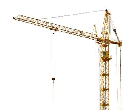 single isolated dark gold hoisting crane