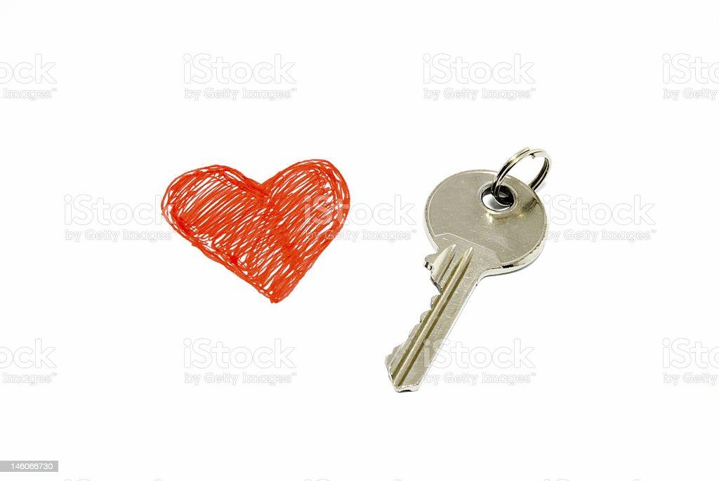 Single key from a heart royalty-free stock photo