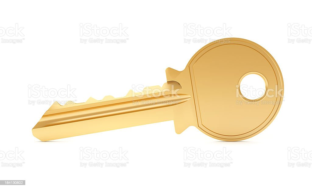 Single key on white background stock photo