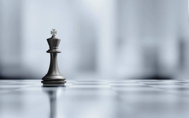 單國王國際象棋棋子黑白棋盤 - 諺語 個照片及圖片檔