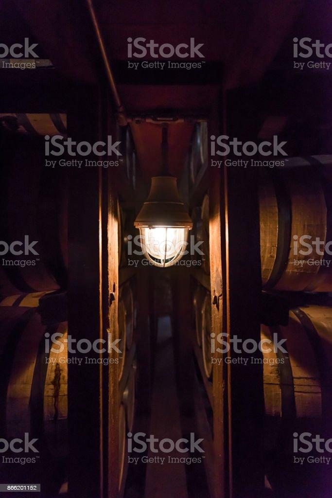 Single Lamp in Bourbon Warehouse stock photo