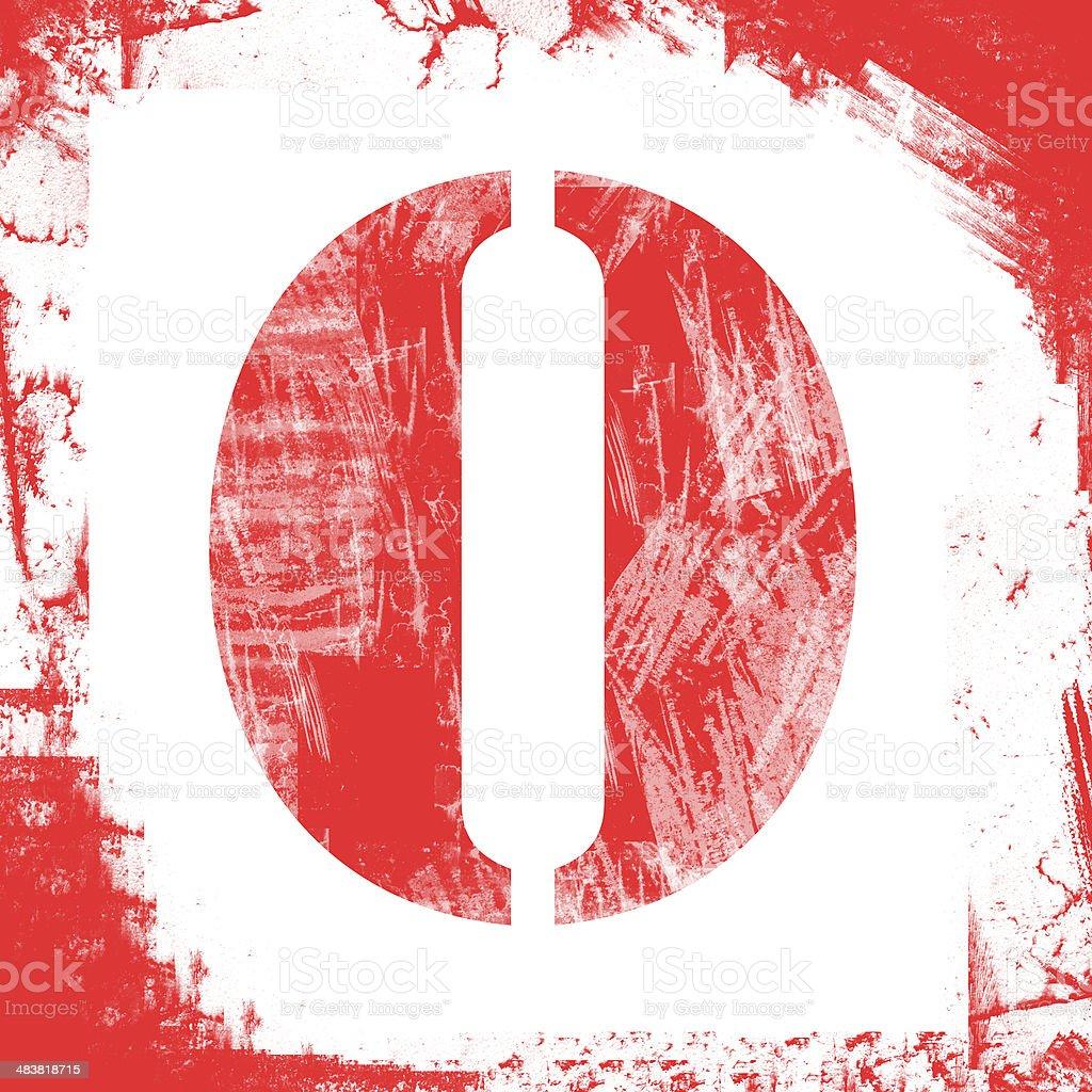 Single Letter O Stamp, Grunge Design royalty-free stock photo