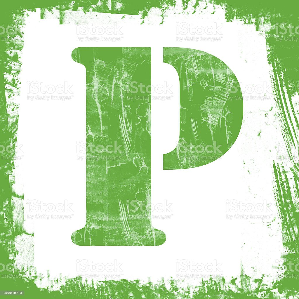 Single Letter P Stamp, Grunge Design royalty-free stock photo
