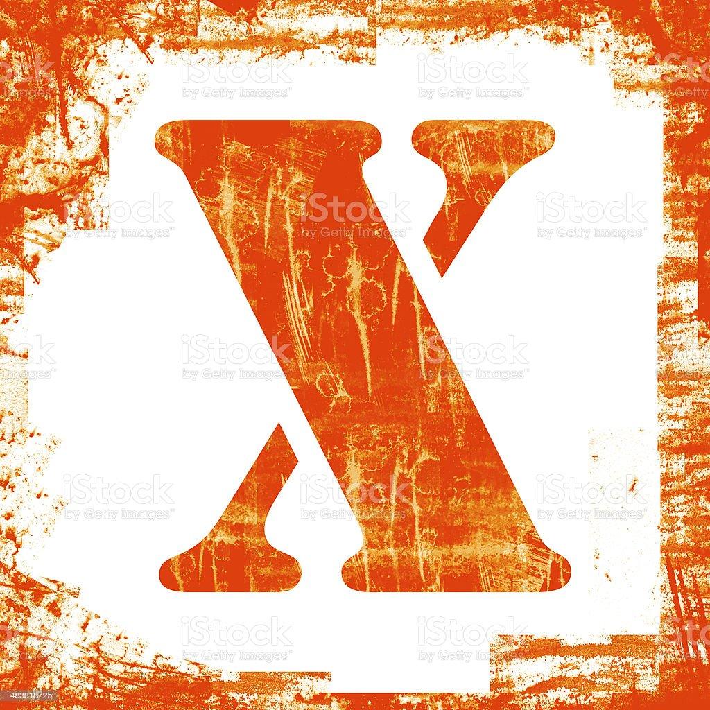 Single Letter X Stamp, Grunge Design royalty-free stock photo