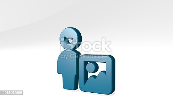 istock single man actions image from a perspective with the shadow. A thick sculpture made of metallic materials of 3D rendering. illustration and background 1263092895