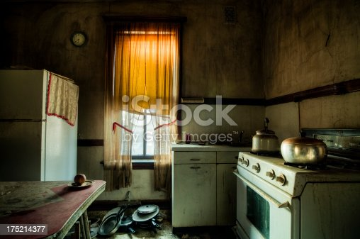 Old Retro Abandoned kitchen. The guy was actually living there.