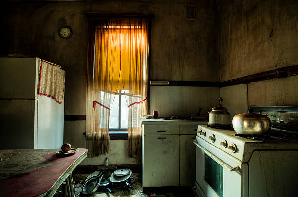 Single Man's Kitchen Old Retro Abandoned kitchen. The guy was actually living there. run down stock pictures, royalty-free photos & images