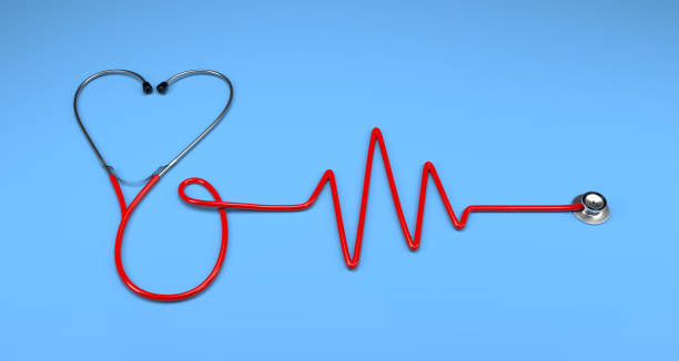 single medical stethoscope in the shape of heart stock photo