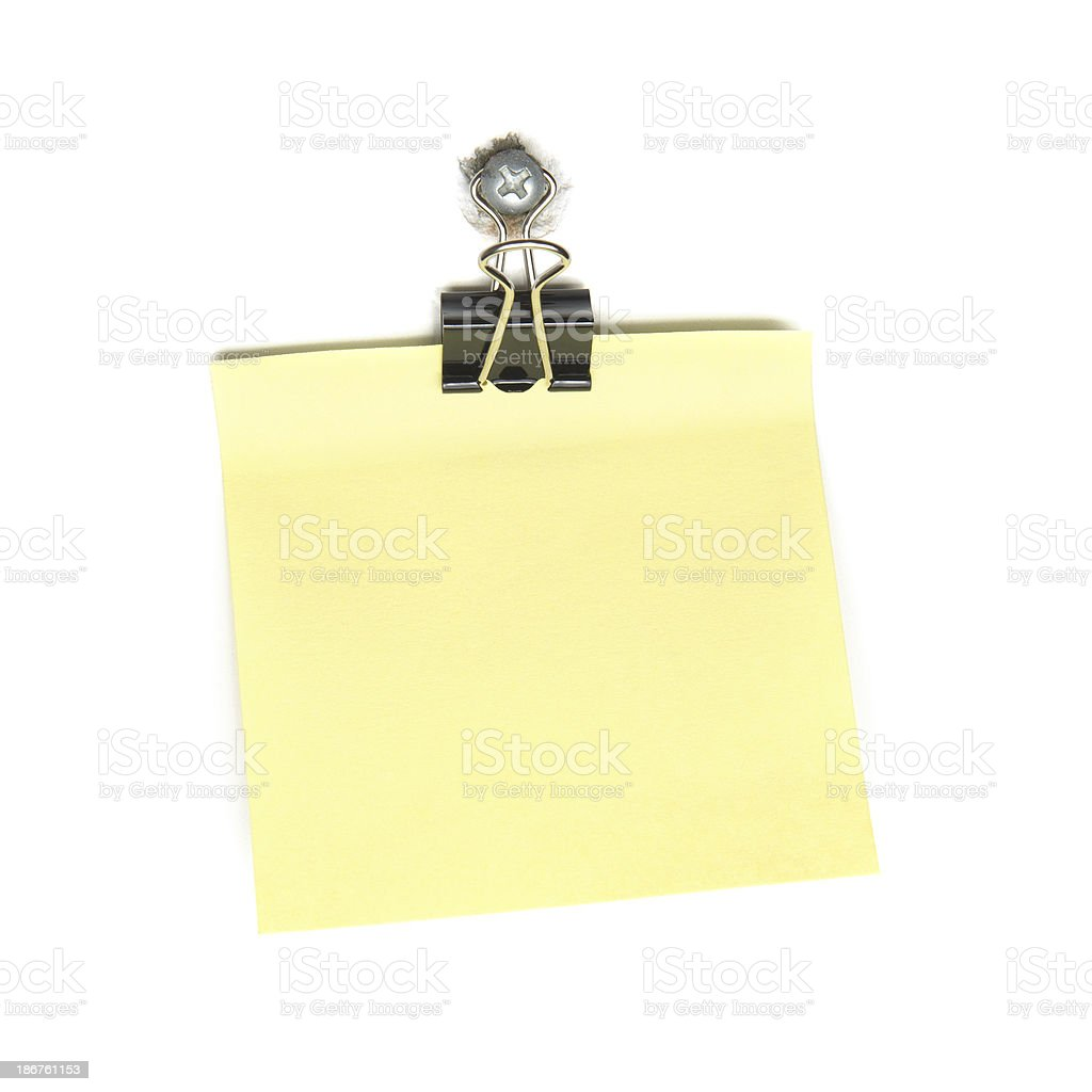 Single Memo Note with Paper Clip stock photo