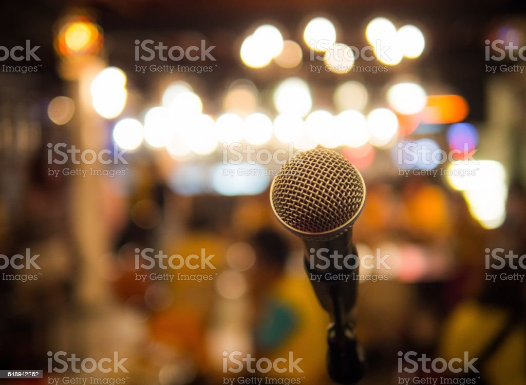 Single microphone with blurred background. stock photo