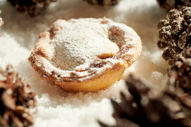 Single Mince Pie with Christmas decoration Pine cones on a snow background. stock photo