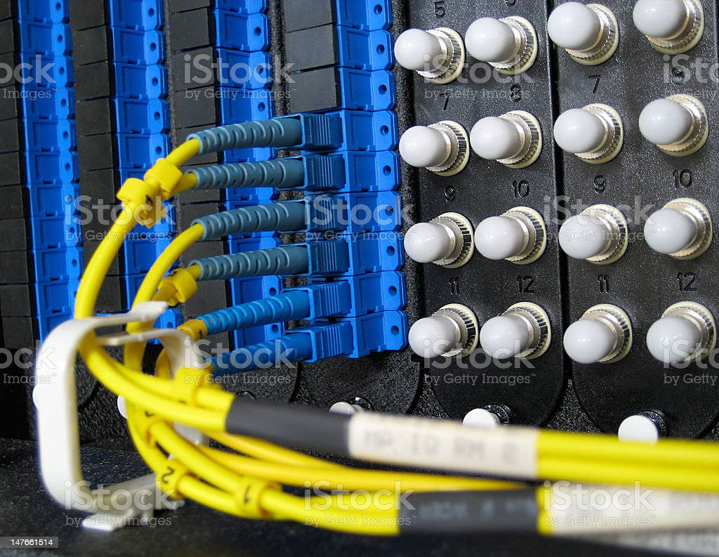 Single Mode Fiber Optic Cable Connections royalty-free stock photo