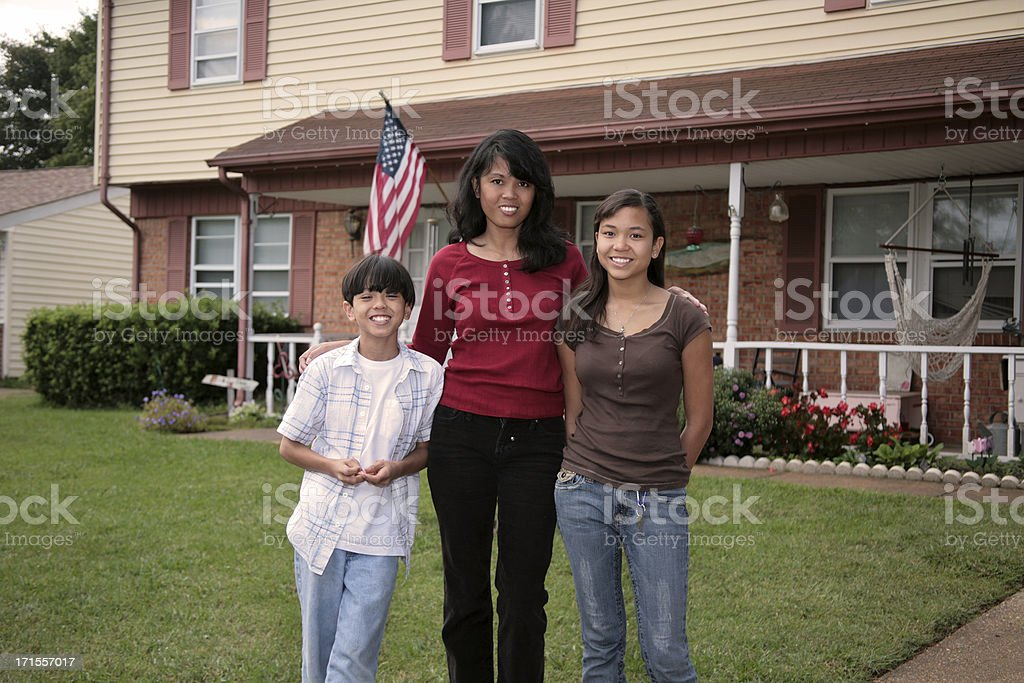 Single Mom with Kids royalty-free stock photo