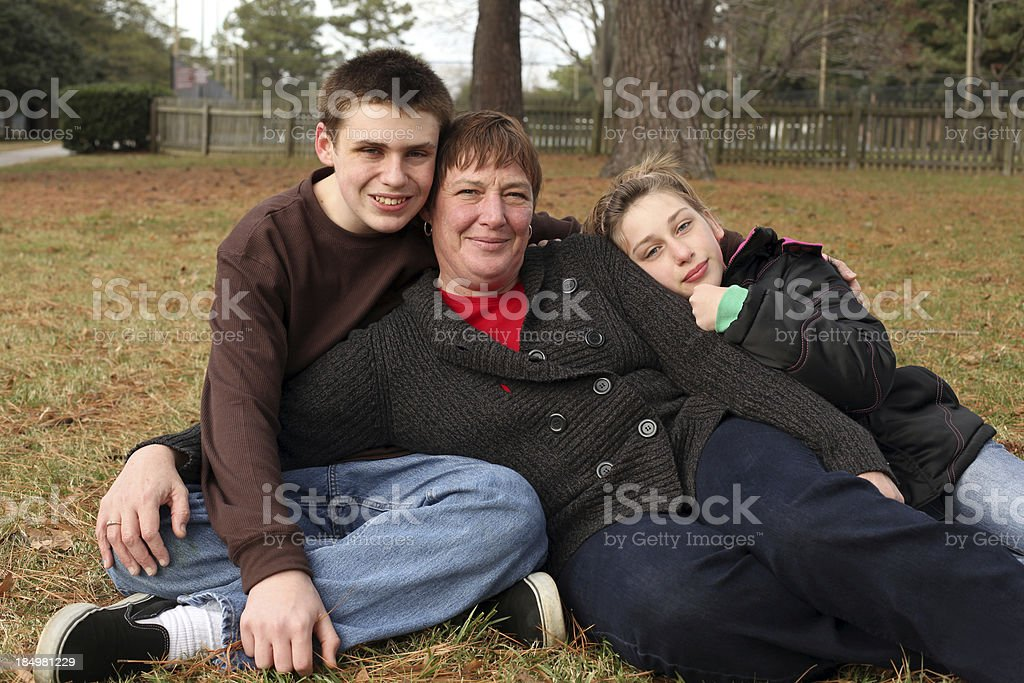 Single Mother of Two Children. stock photo