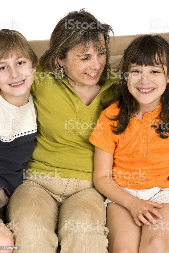 Single mother with two children royalty-free stock photo