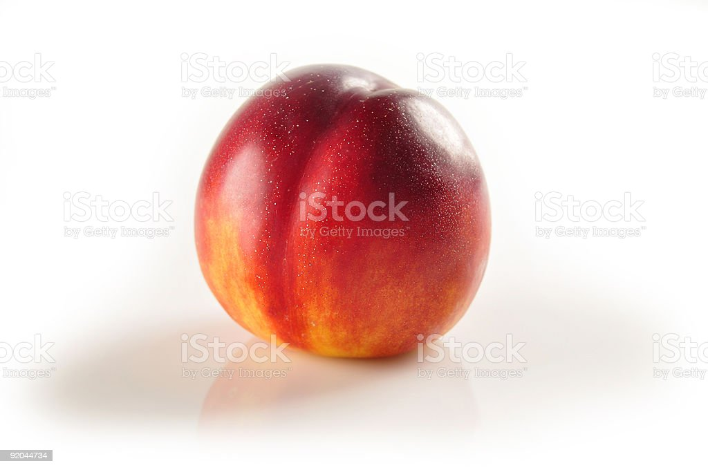 A single nectarine on white background stock photo