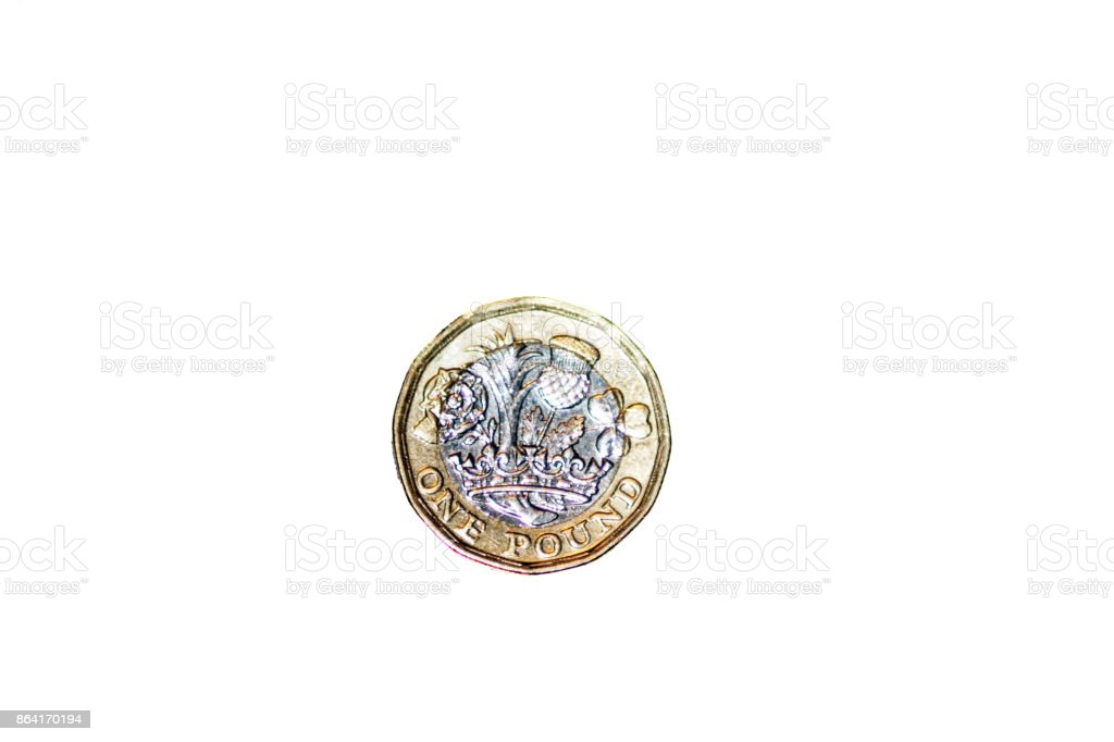 Single new one pound coin royalty-free stock photo