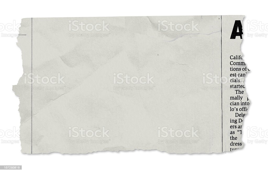Single newspaper tear - on white stock photo