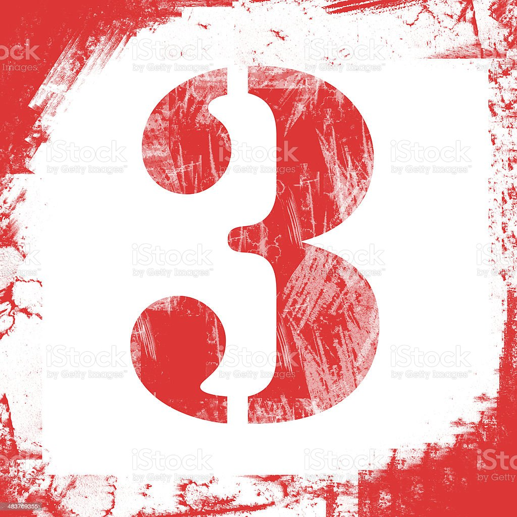 Single Number 3 Stamp Grunge Design Stock Photo