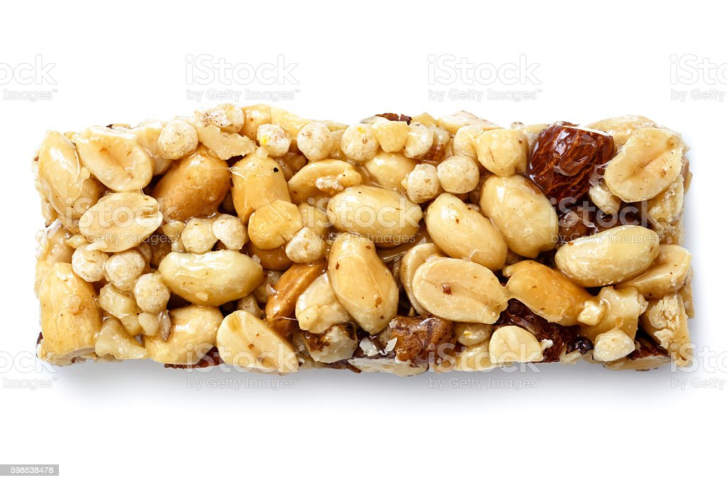 Single nut bar isolated on white from above. photo libre de droits