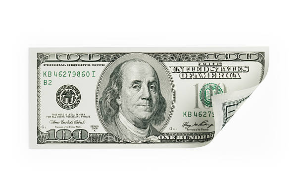 Single One Hundred US Dollar Bill on White stock photo