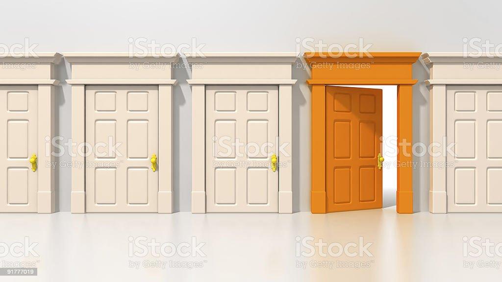 Single open orange door royalty-free stock photo