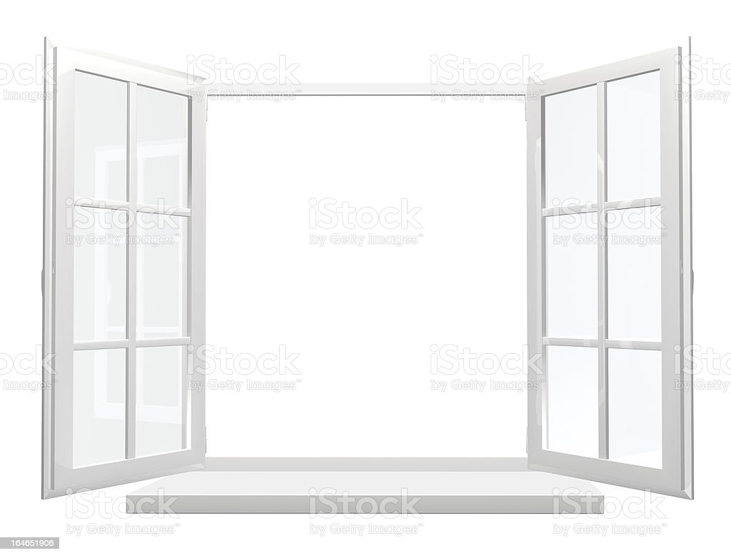 A single opened white window on a white background royalty-free stock photo
