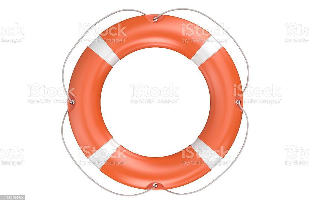 single orange lifebuoy closeup stock photo