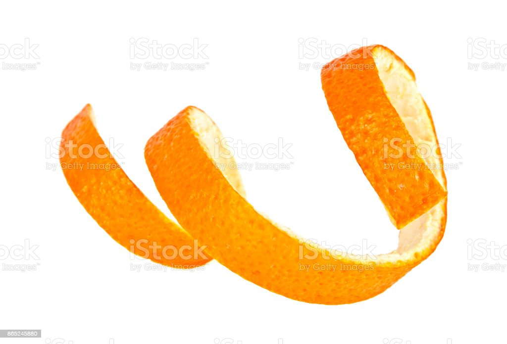 Single orange peel on a white background stock photo