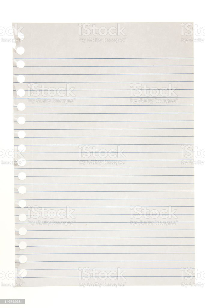 Single page torn from notebook stock photo