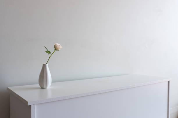 einzigen blass rosa rose in der vase auf weiße sideboard - anrichte weiß stock-fotos und bilder