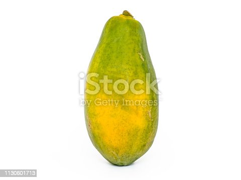 single Papaya with white background