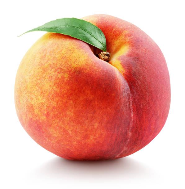 einzelne pfirsichfrucht mit blatt isoliert auf weiß - peach stock-fotos und bilder
