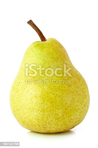 Single pear isolated on a white background with clipping path