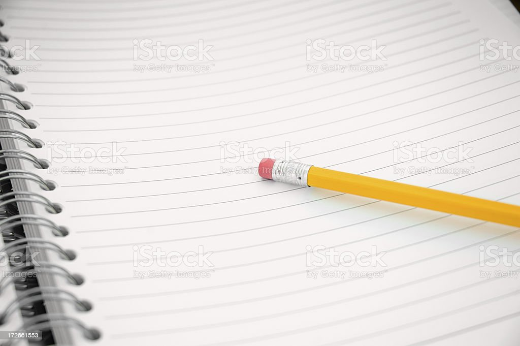 Single pencil on note pad royalty-free stock photo