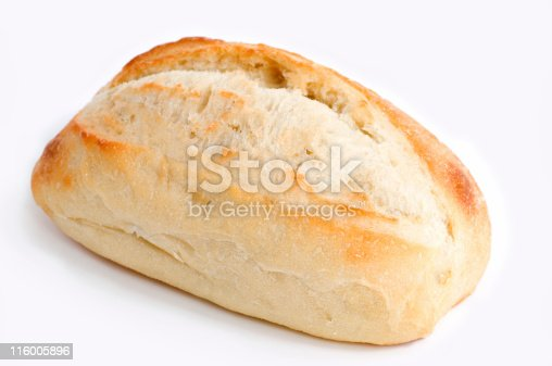 single piece of artisan bread made with olive oil isolated on white background