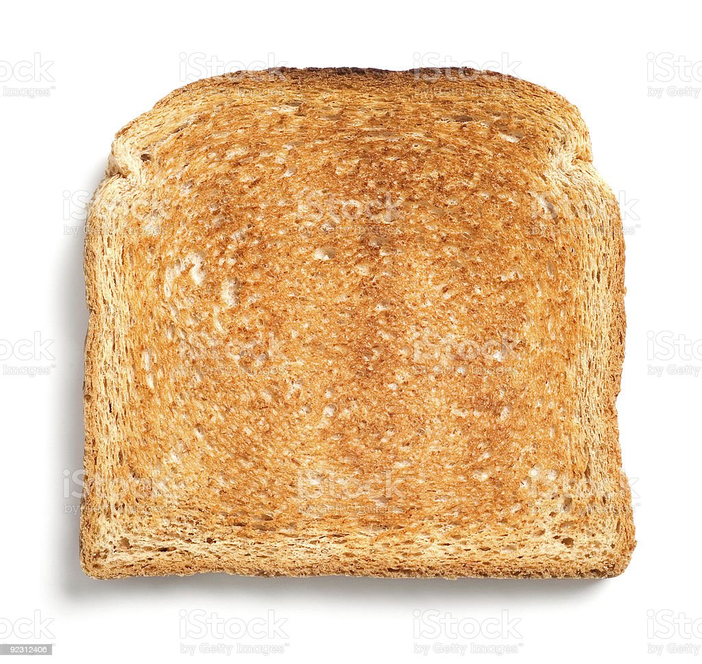 A single piece of toast on a white background stock photo