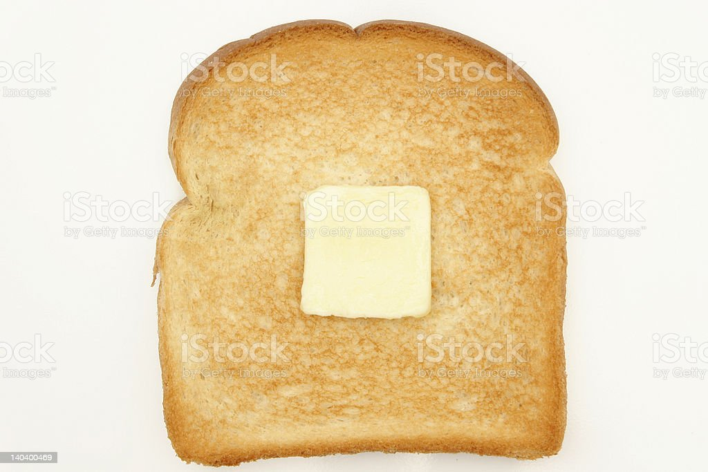 single piece of toast with butter royalty-free stock photo