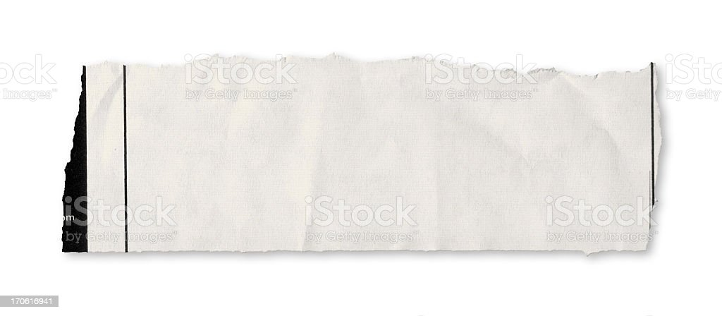 A single piece of torn newspaper on a white background stock photo