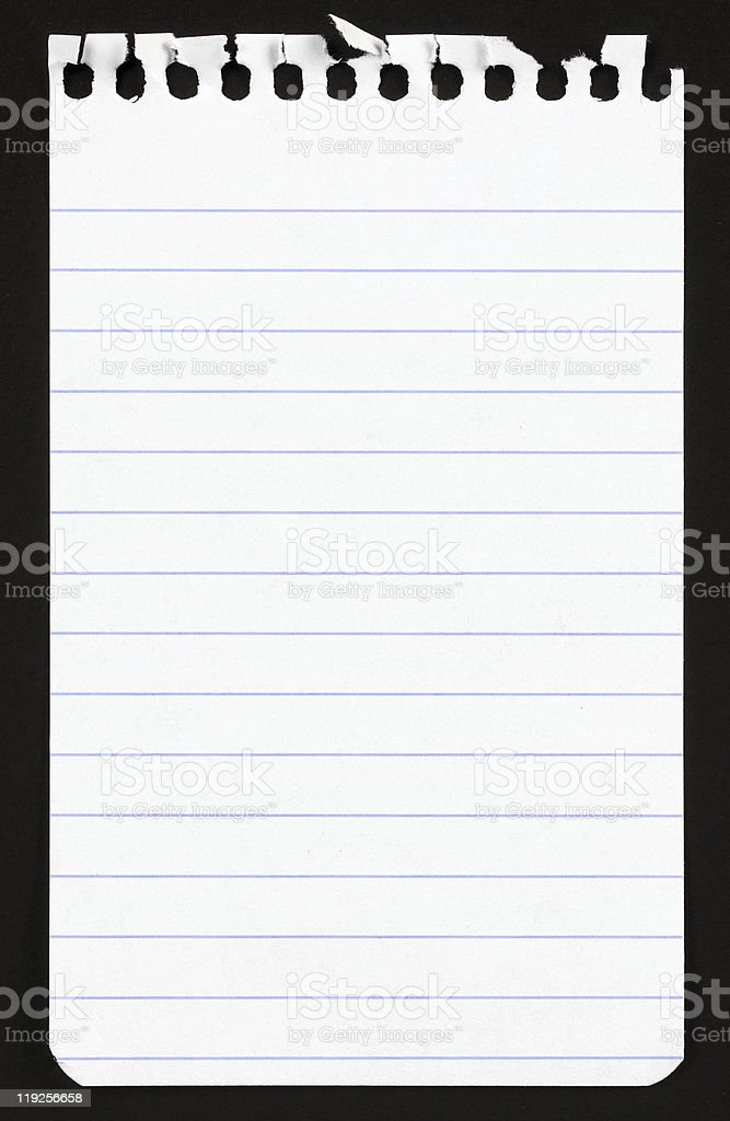 Single piece of white lined paper from a notepad stock photo
