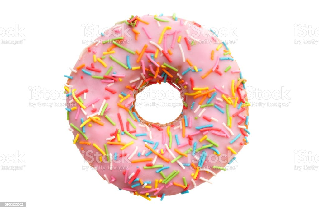 Single pink donut stock photo