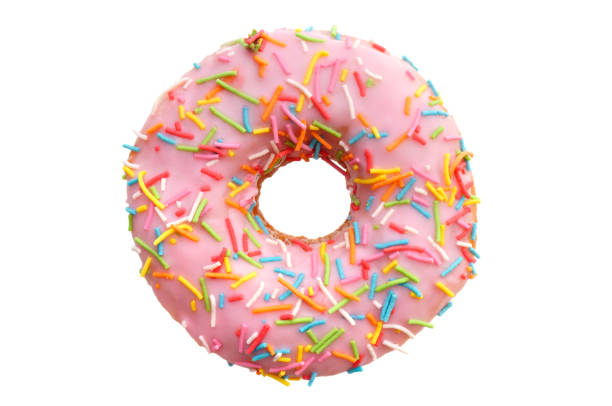 single pink donut - single object stock pictures, royalty-free photos & images