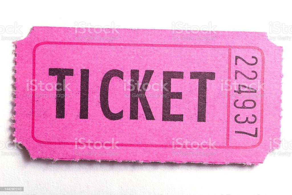 Single pink raffle ticket on white background stock photo