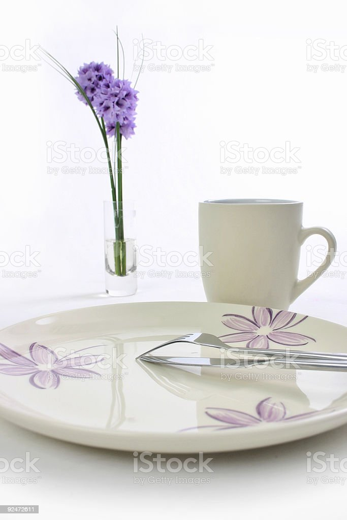 Single Place Setting on White royalty-free stock photo
