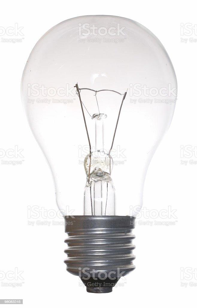 A single plain light bulb on a blank white canvas royalty-free stock photo